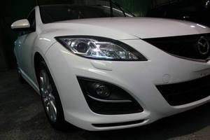 Mazda 6, Восстановительная полировка авто, нанесение воска на кузов, очистка дисков, антидождь на все стекла.